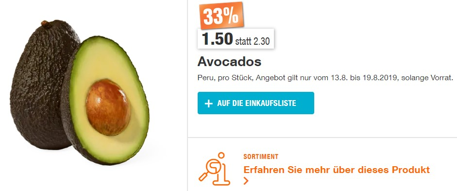 Migros Avocado Aktion